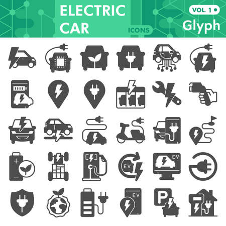 Electric car solid icon set, Electric vehicle symbols collection or sketches. Eco transport glyph style signs for web and app. Vector graphics isolated on white background. Иллюстрация