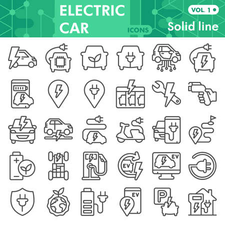 Electric car line icon set, Electric vehicle symbols collection or sketches. Eco transport linear style signs for web and app. Vector graphics isolated on white background.
