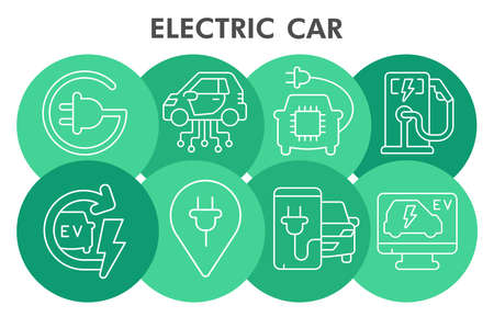 Modern electric car Infographic design template with icons. Electric vehicle Infographic visualization. Eco transport template for presentation. Creative vector illustration for infographic.