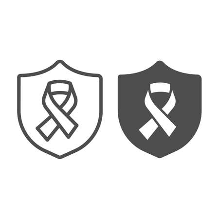 Emblem of protection and Cancer treatment ribbon line and solid icon, World cancer day concept, World Cancer awareness sign on white background, shield amd tape icon in outline style. Vector graphics. Vector Illustration