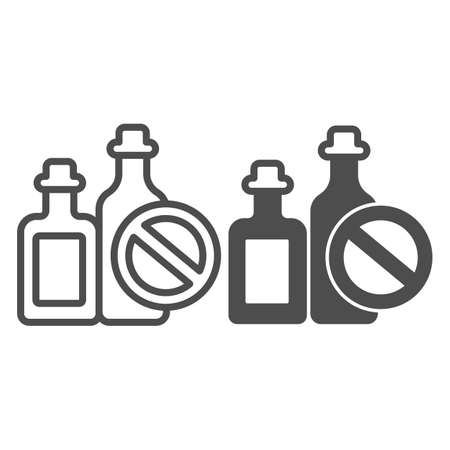 Bottles of spirits and prohibition sign line and solid icon, World cancer day concept, No alcohol addiction sign on white background, causes of cancer icon in outline style. Vector graphics.