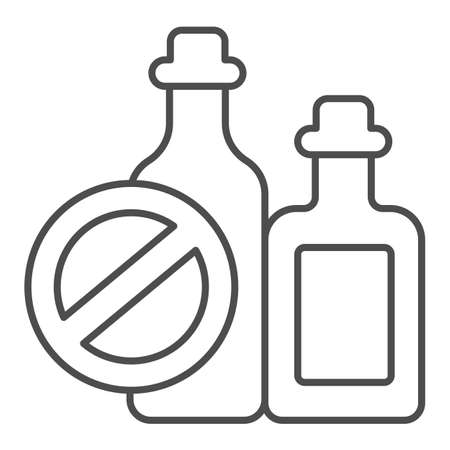 Bottles of spirits and prohibition sign thin line icon, World cancer day concept, No alcohol addiction sign on white background, causes of cancer icon in outline style. Vector graphics.