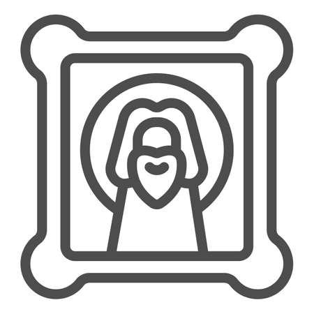 Icon with holy Jesus line icon, Happy Easter concept, orthodox paint sign on white background, easter and holiday christ canvas icon in outline style for mobile and web. Vector graphics.