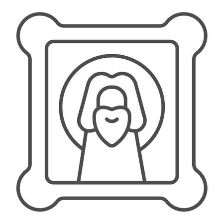Icon with holy Jesus thin line icon, Happy Easter concept, orthodox paint sign on white background, easter and holiday christ canvas icon in outline style for mobile and web. Vector graphics.