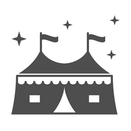 Tent with attractions solid icon, The rides concept, circus tent sign on white background, Carnival camping tent icon in glyph style for mobile concept and web design. Vector graphics.