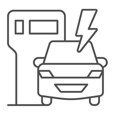 EV charging station and vehicle thin line icon, electric car concept, Electric vehicle charging station sign on white background, Charging point for hybrid vehicles icon outline. Vector graphics.
