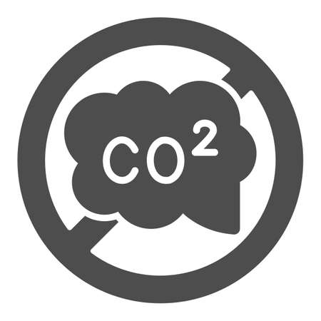 Banned CO2 sign solid icon, Electric car concept, carbon dioxide caution sign on white background, no CO2 symbol icon in glyph style for mobile concept and web design. Vector graphics.