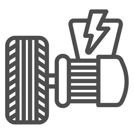 Electric vehicle motor and tire line icon, Electric car concept, Electrical engine sign on white background, Tire and motor icon in outline style for mobile and web design. Vector graphics.