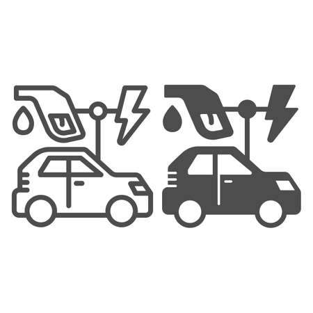 Electric vehicle and oil refueling gun with lightning line and solid icon, electric car concept, EV auto station sign on white background, gasoline nozzle and hybrid car icon in outline style. Vector.