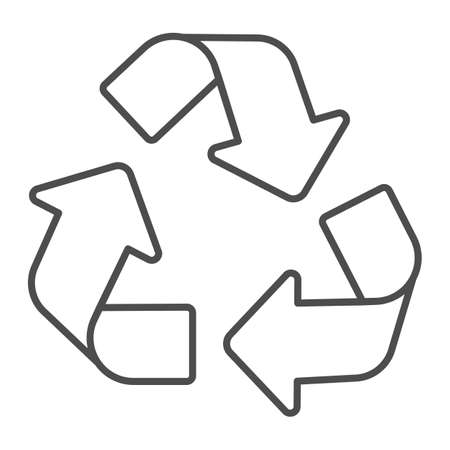 Recycling of materials thin line icon, Electric car concept, Reuse, reduce, recycle sign on white background, Eco green recycled symbol in outline style for mobile and web. Vector graphics.
