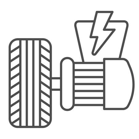 Electric vehicle motor and tire thin line icon, Electric car concept, Electrical engine sign on white background, Tire and motor icon in outline style for mobile and web design. Vector graphics.