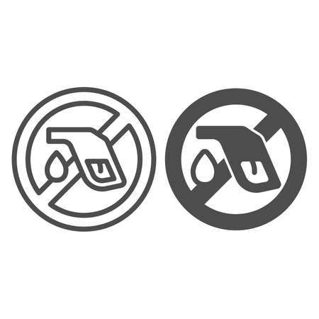 Banned refueling nozzle with drop line and solid icon, Electric car concept, fuel pump stop sign on white background, Gas Pump forbidden icon in outline style for mobile, web design. Vector graphics.