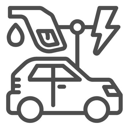 Electric vehicle and oil refueling gun with lightning line icon, electric car concept, EV auto station sign on white background, gasoline nozzle and hybrid car icon in outline style. Vector.