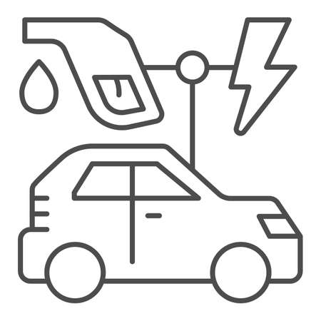 Electric vehicle and oil refueling gun with lightning thin line icon, electric car concept, EV auto station sign on white background, gasoline nozzle and hybrid car icon in outline style. Vector. 일러스트