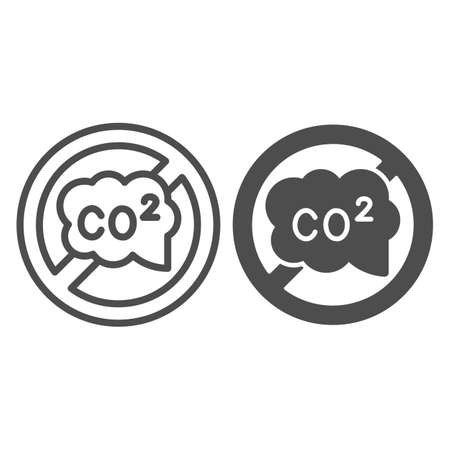 Banned CO2 sign line and solid icon, Electric car concept, carbon dioxide caution sign on white background, no CO2 symbol icon in outline style for mobile concept and web design. Vector graphics.