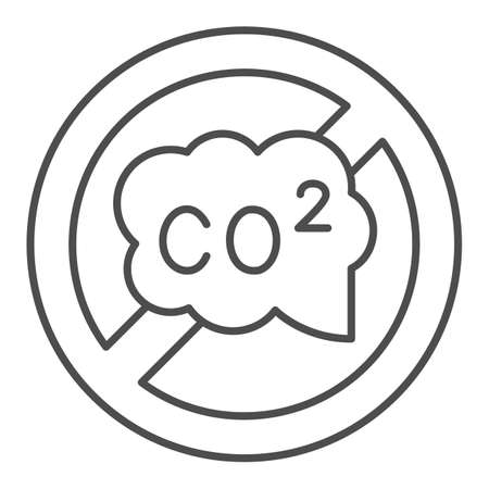 Banned CO2 sign thin line icon, Electric car concept, carbon dioxide caution sign on white background, no CO2 symbol icon in outline style for mobile concept and web design. Vector graphics.