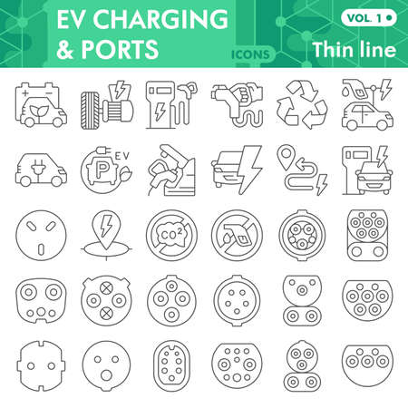 Electric car thin line icon set, Electric vehicle symbols collection or sketches. Eco transport linear style signs for web and app. Vector graphics isolated on white background. Vetores