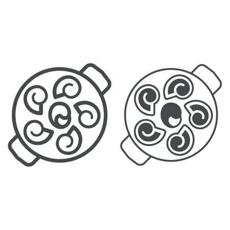 Snails line and solid icon, french food concept, snails vector sign on white background, snails outline style for mobile concept and web design. Vector graphics.