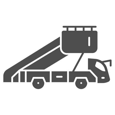 Gangway truck solid icon, airlines concept, gangway to plane vector sign on white background, gangway truck glyph style for mobile concept and web design. Vector graphics.