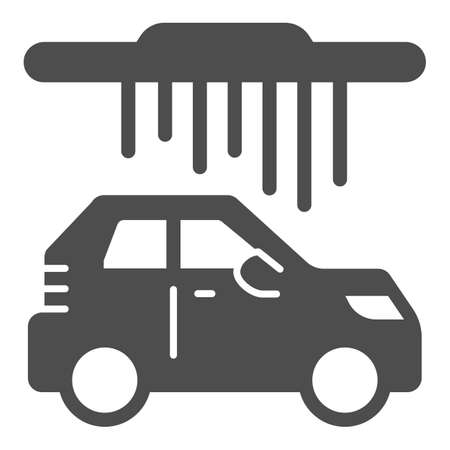 Process of washing car in conveyor car wash solid icon, car washing concept, Automatic vehicle steam cleaning sign on white background, Carwash icon in glyph style. Vector graphics.