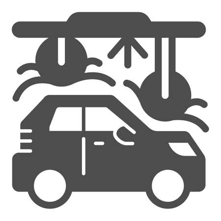 Process of washing car in tunnel car wash solid icon, car washing concept, Automatic vehicle wash service sign on white background, Carwash tunnel system icon glyph style. Vector graphics.