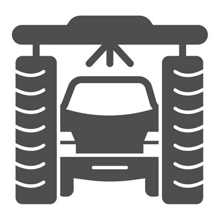 Process of washing car in tunnel car wash solid icon, car washing concept, Vehicle pressure wash blasters sign on white background, Carwash tunnel system icon glyph style. Vector graphics.
