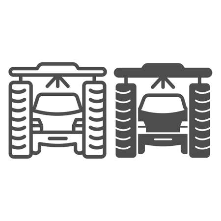 Process of washing car in tunnel car wash line and solid icon, car washing concept, Vehicle pressure wash blasters sign on white background, Carwash tunnel system icon outline style. Vector graphics.