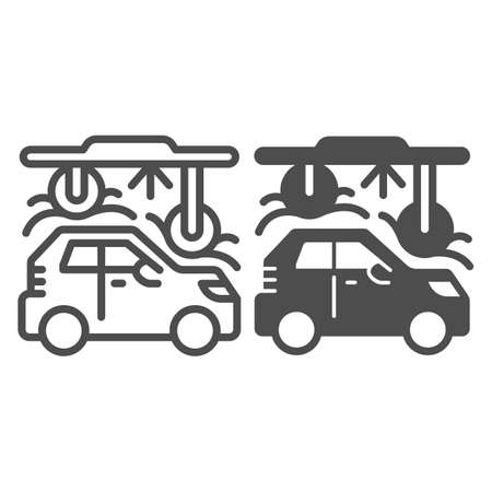 Process of washing car in tunnel car wash line and solid icon, car washing concept, Automatic vehicle wash service sign on white background, Carwash tunnel system icon outline style. Vector graphics.