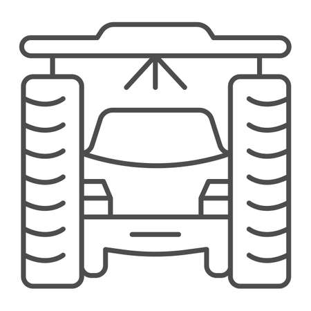 Process of washing car in tunnel car wash thin line icon, car washing concept, Vehicle pressure wash blasters sign on white background, Carwash tunnel system icon outline style. Vector graphics.