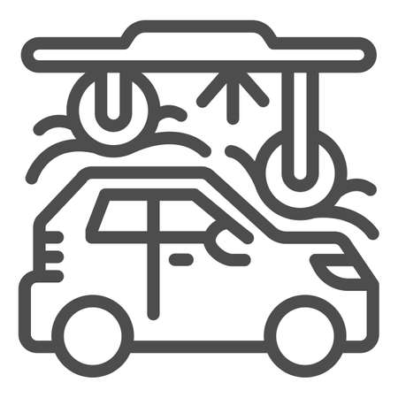 Process of washing car in tunnel car wash line icon, car washing concept, Automatic vehicle wash service sign on white background, Carwash tunnel system icon outline style. Vector graphics.
