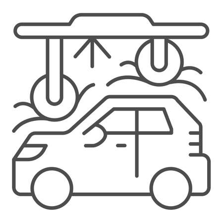 Process of washing car in tunnel car wash thin line icon, car washing concept, Automatic vehicle wash service sign on white background, Carwash tunnel system icon outline style. Vector graphics. Vektorgrafik