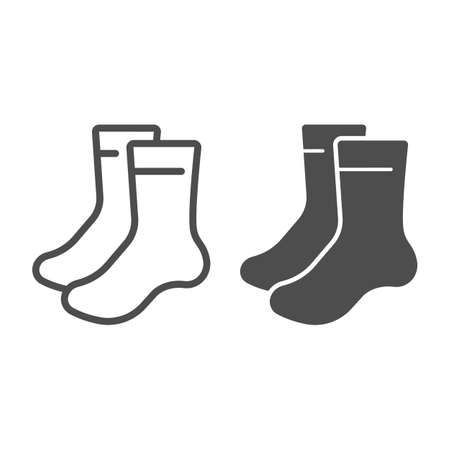 Pair of socks line and solid icon, bowling concept, sock sign on white background, classic sport socks icon in outline style for mobile concept and web design. Vector graphics.