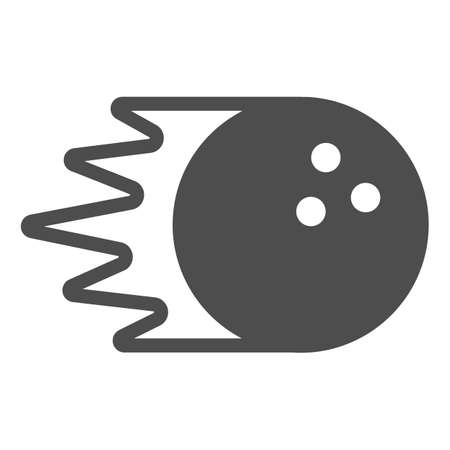 Bowling ball rolling at speed solid icon, bowling concept, bowling sport sign on white background, Rolling sphere icon in glyph style for mobile concept and web design. Vector graphics.