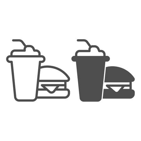 Glass of cola and hamburger line and solid icon, bowling concept, Fast food sign on white background, Burger with soft drink icon in outline style for mobile concept and web design. Vector graphics.