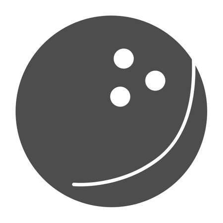 Bowling ball solid icon, bowling concept, Bowling game sign on white background, ball icon in glyph style for mobile concept and web design. Vector graphics.