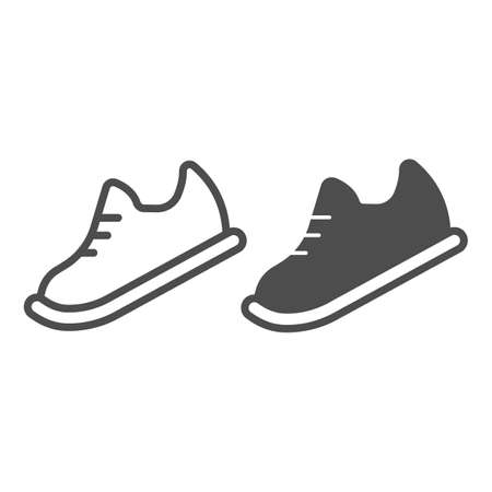 Bowling shoes line and solid icon, bowling concept, Sneakers sign on white background, sport footwear icon in outline style for mobile concept and web design. Vector graphics. 向量圖像