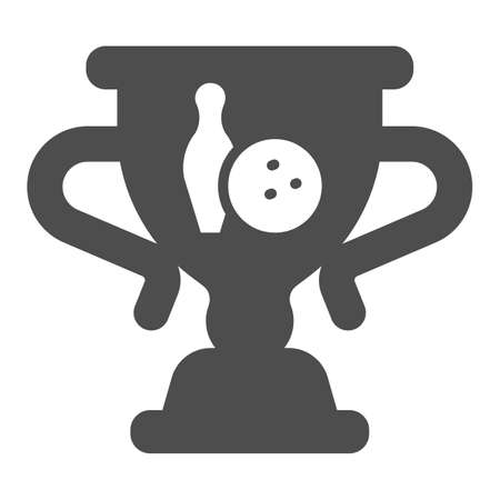 Cup of winner in bowling solid icon, bowling concept, trophy cup sign on white background, Winner bowling award icon in glyph style for mobile concept and web design. Vector graphics.