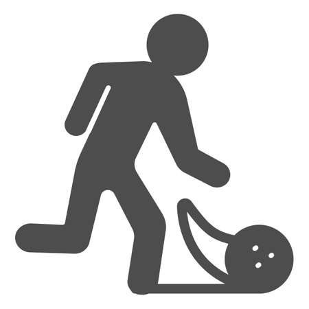 Man throwing bowling ball solid icon, bowling concept, Bowling player sign on white background, Man throws ball icon in glyph style for mobile concept and web design. Vector graphics.