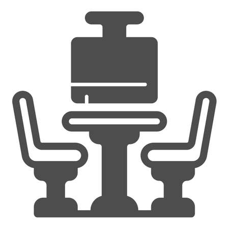 Bowling table with chairs solid icon, bowling concept, Bowling cafe interior sign on white background, Team seat icon in glyph style for mobile concept and web design. Vector graphics.