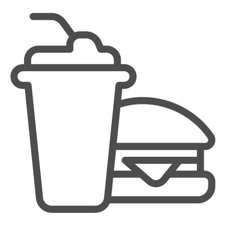 Glass of cola and hamburger line icon, bowling concept, Fast food sign on white background, Burger with soft drink icon in outline style for mobile concept and web design. Vector graphics.