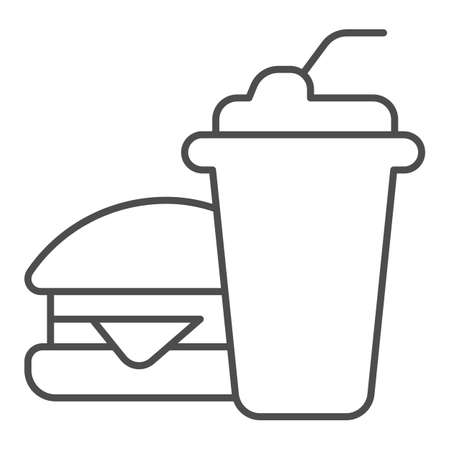 Glass of cola and hamburger thin line icon, bowling concept, Fast food sign on white background, Burger with soft drink icon in outline style for mobile concept and web design. Vector graphics.