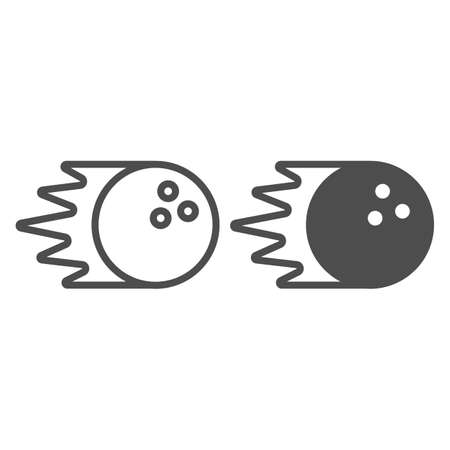 Bowling ball rolling at speed line and solid icon, bowling concept, bowling sport sign on white background, Rolling sphere icon in outline style for mobile concept and web design. Vector graphics.