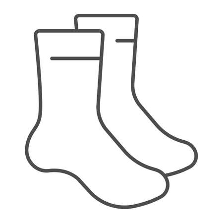 Pair of socks thin line icon, bowling concept, sock sign on white background, classic sport socks icon in outline style for mobile concept and web design. Vector graphics.