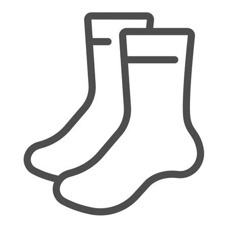 Pair of socks line icon, bowling concept, sock sign on white background, classic sport socks icon in outline style for mobile concept and web design. Vector graphics.