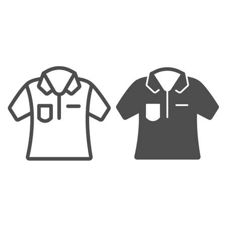 Bowling team player shirt line and solid icon, bowling concept, t-shirt sign on white background, uniform icon in outline style for mobile concept and web design. Vector graphics.