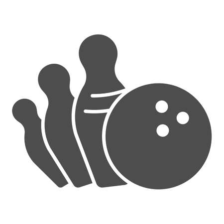 Falling pins and bowling ball solid icon, bowling concept, strike sign on white background, Bowling ball knocking over pins icon in glyph style for mobile and web design. Vector graphics.