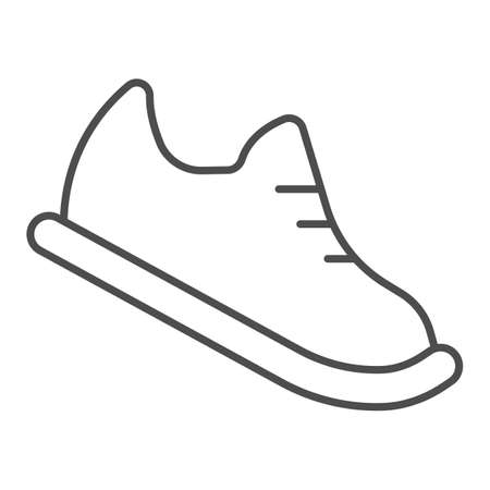 Bowling shoes thin line icon, bowling concept, Sneakers sign on white background, sport footwear icon in outline style for mobile concept and web design. Vector graphics.