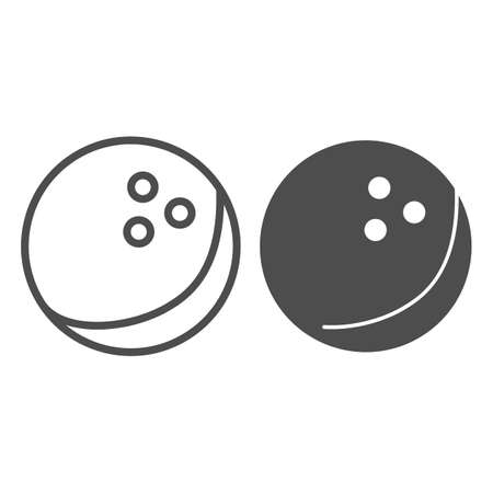 Bowling ball line and solid icon, bowling concept, Bowling game sign on white background, ball icon in outline style for mobile concept and web design. Vector graphics.