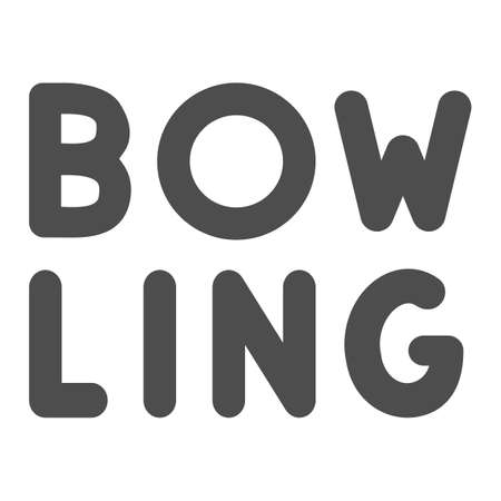 Inscription bowling solid icon, bowling concept, emblem of logo for bowling on white background, sport club icon in glyph style for mobile concept and web design. Vector graphics.