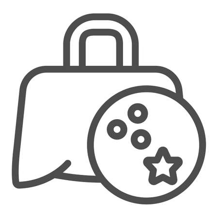 Bag with bowling ball line icon, bowling concept, Sport Equipment sign on white background, Bowling Ball Bag icon in outline style for mobile concept and web design. Vector graphics. 向量圖像